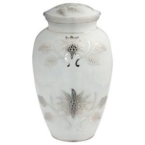 Grace Pearl White Brass Urn